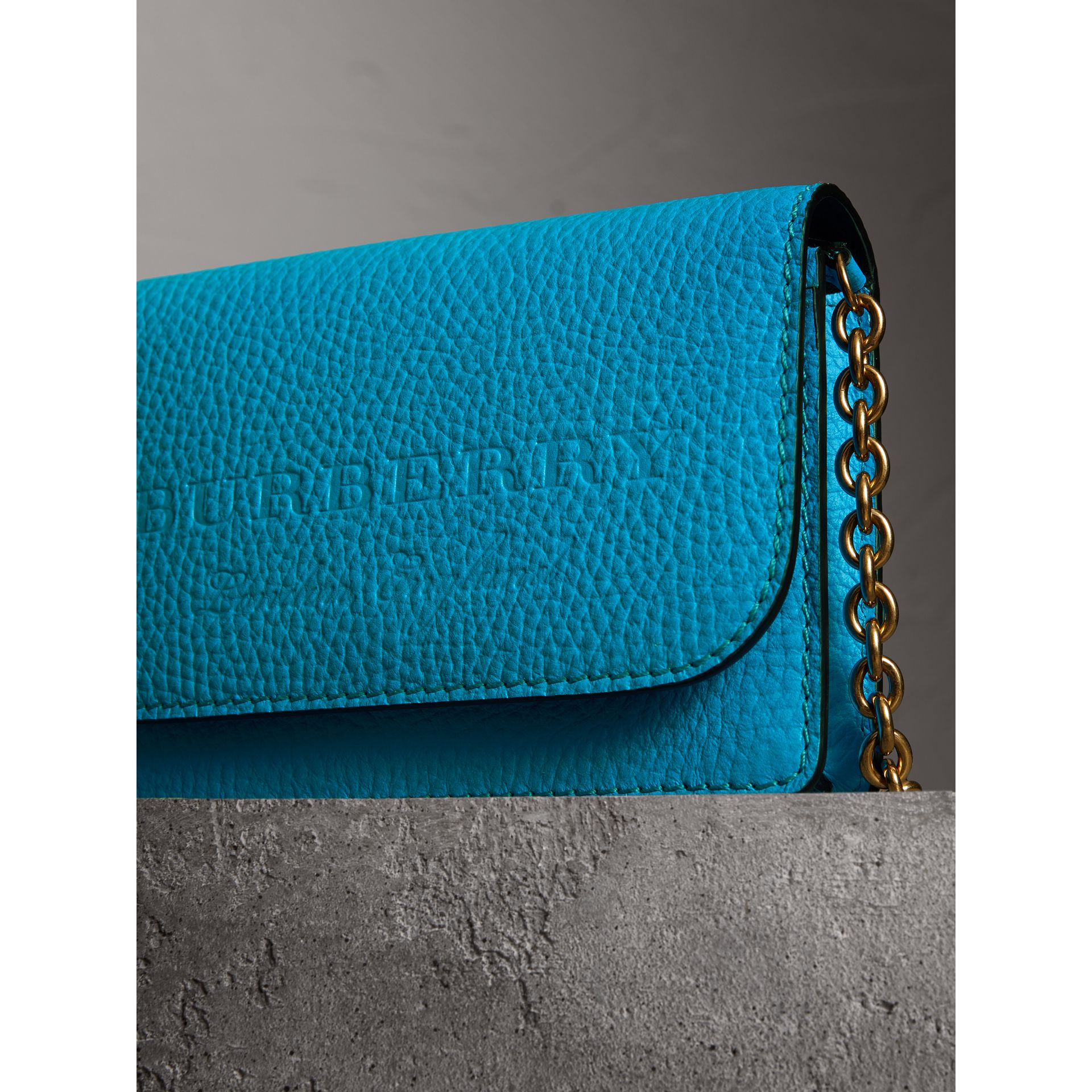 Embossed Leather Wallet with Detachable Strap in Bright Blue - Women | Burberry - gallery image 1
