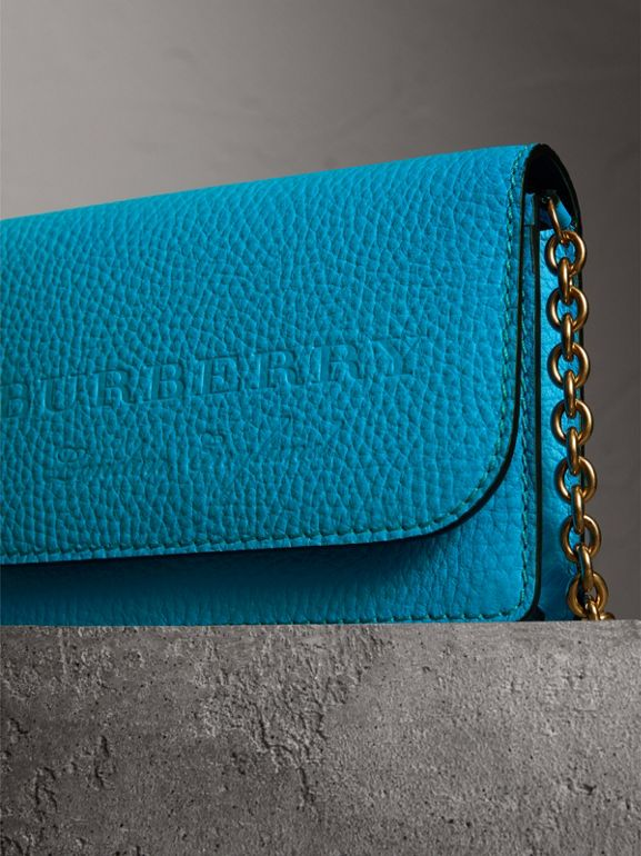 Embossed Leather Wallet with Detachable Strap in Bright Blue - Women | Burberry United Kingdom - cell image 1