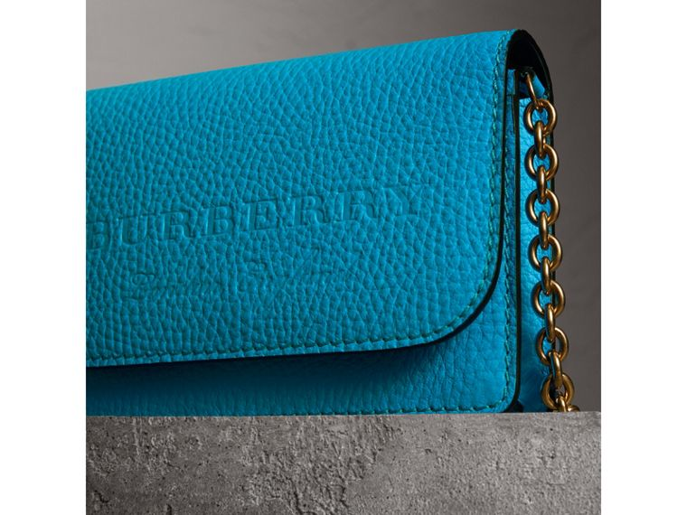 Embossed Leather Wallet with Detachable Strap in Bright Blue - Women | Burberry - cell image 1