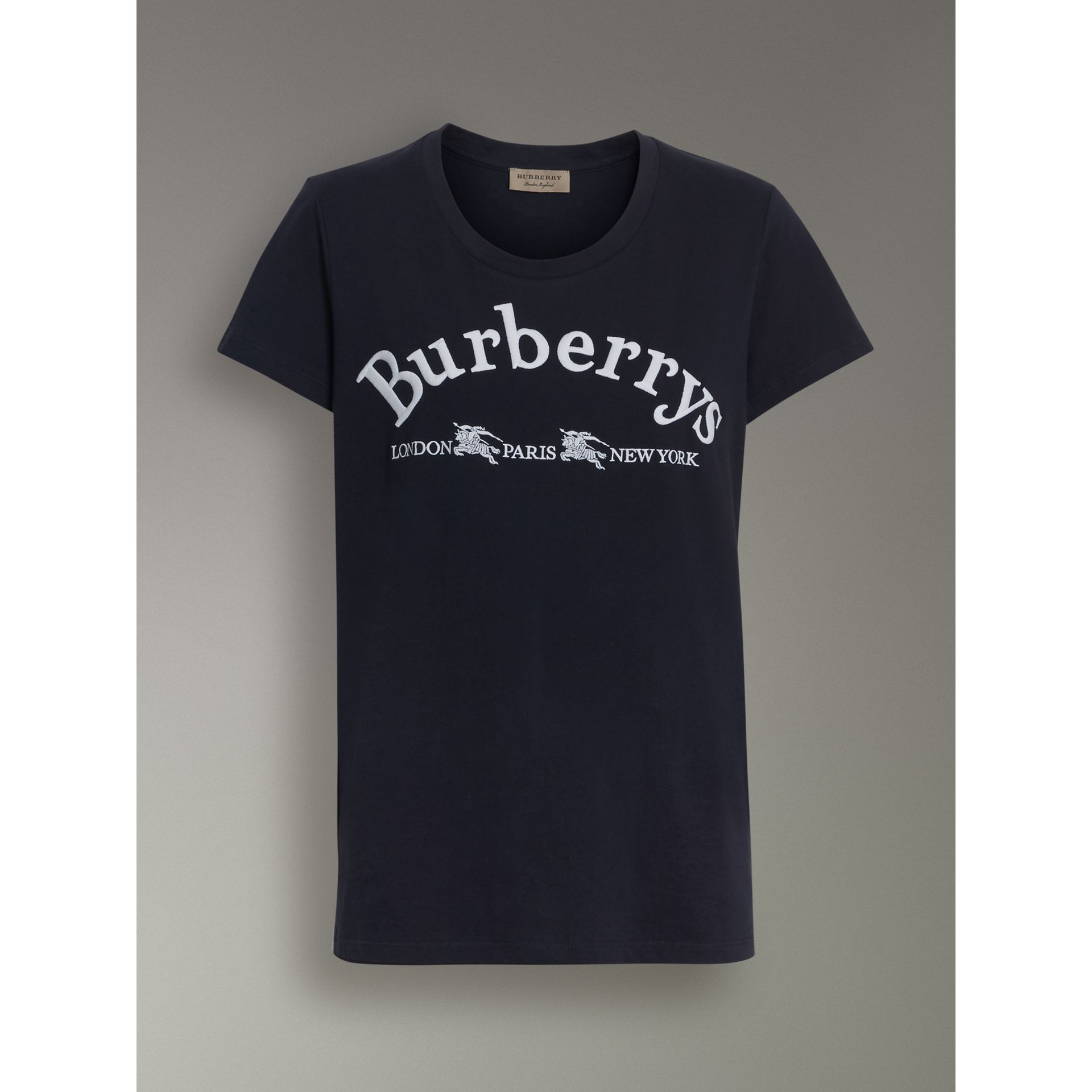 Embroidered Archive Logo Cotton T-shirt in Navy - Women | Burberry - gallery image 3