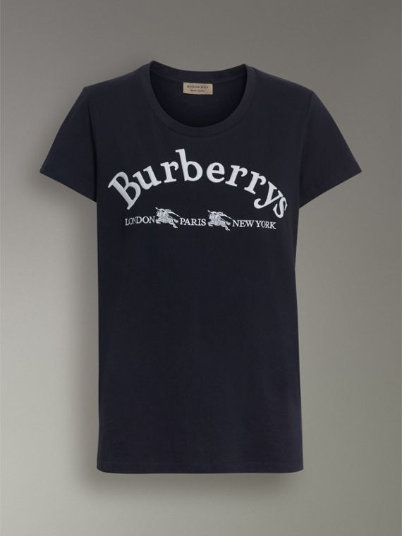 Embroidered Archive Logo Cotton T-shirt in Navy - Women | Burberry Australia - cell image 3