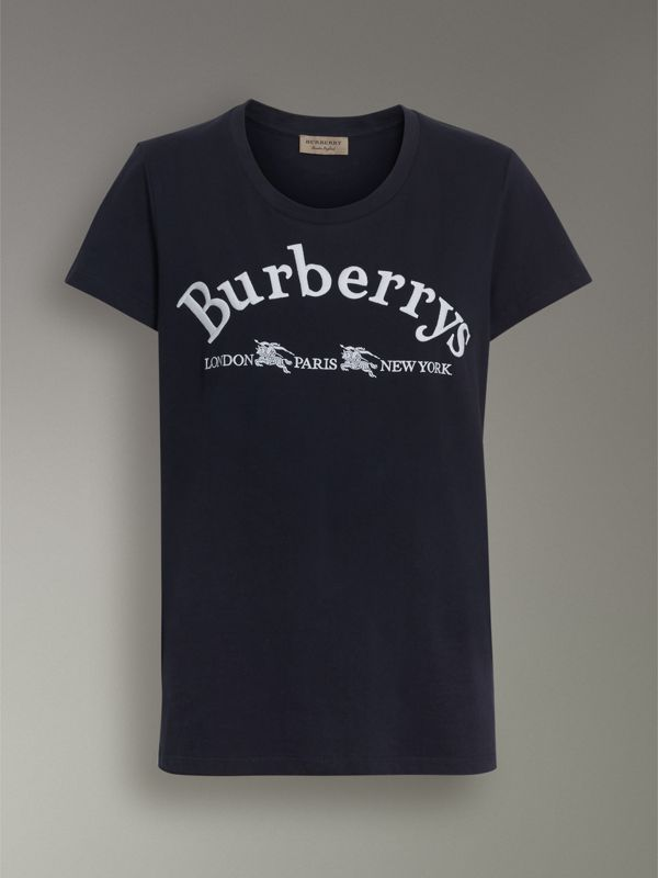 Embroidered Archive Logo Cotton T-shirt in Navy - Women | Burberry Canada - cell image 3