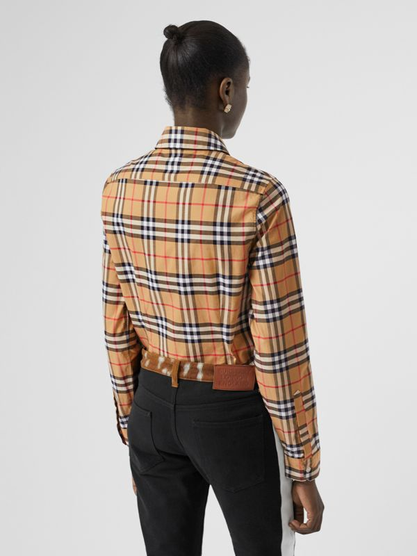 Vintage Check Cotton Shirt in Antique Yellow - Women | Burberry - cell image 2