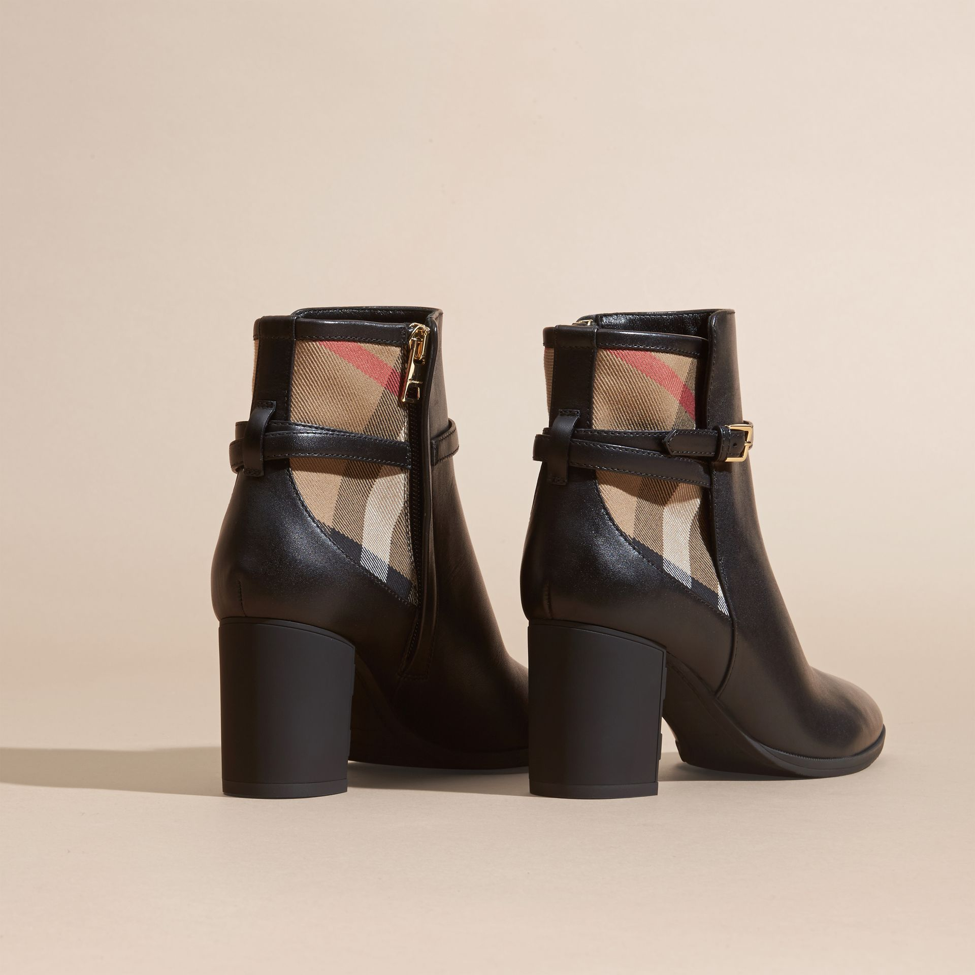 Black House Check and Leather Ankle Boots Black - gallery image 4