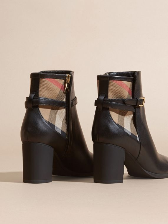 Black House Check and Leather Ankle Boots Black - cell image 3