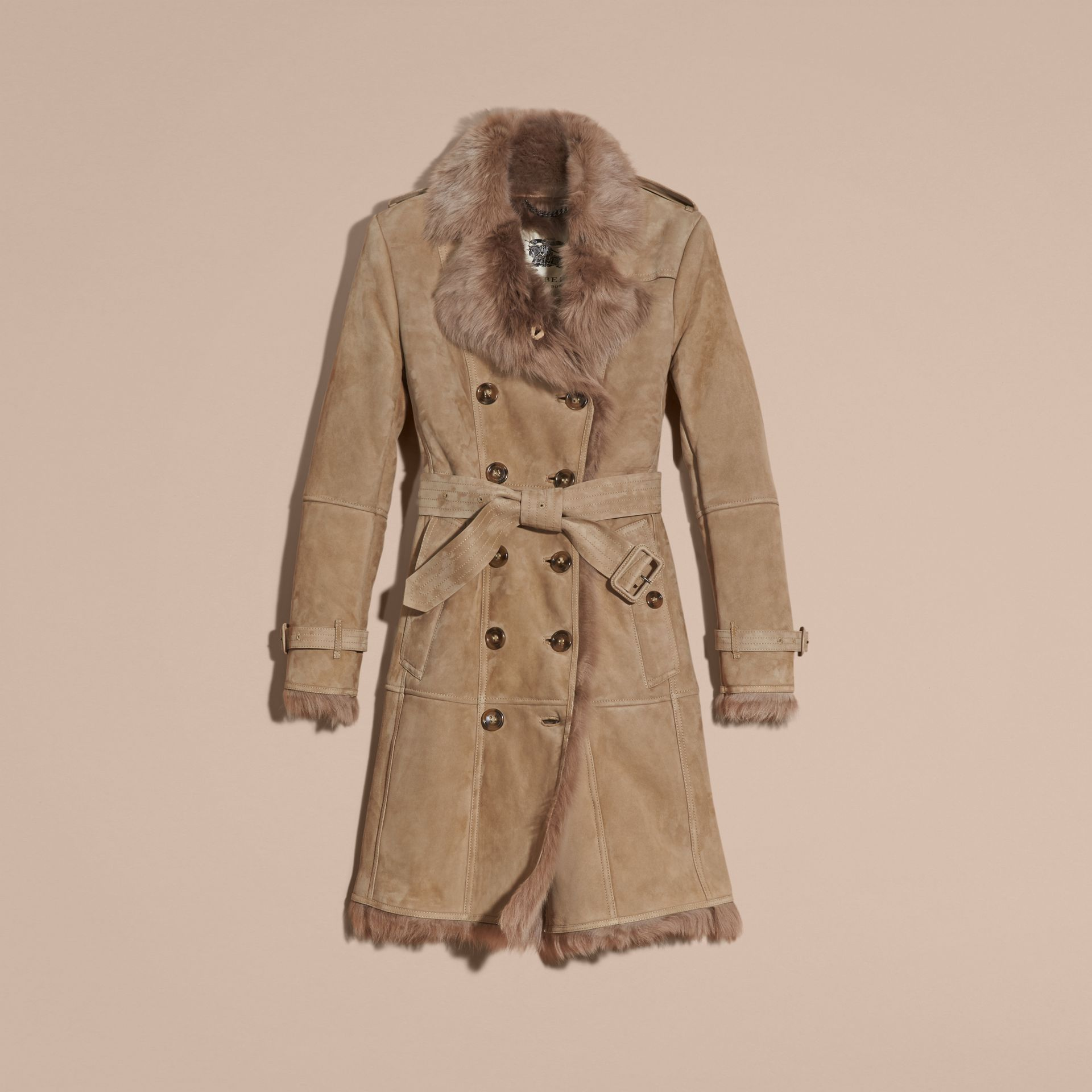 Camel Shearling Trench Coat Camel - gallery image 4
