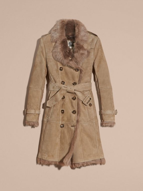 Shearling Trench Coat Camel - cell image 3