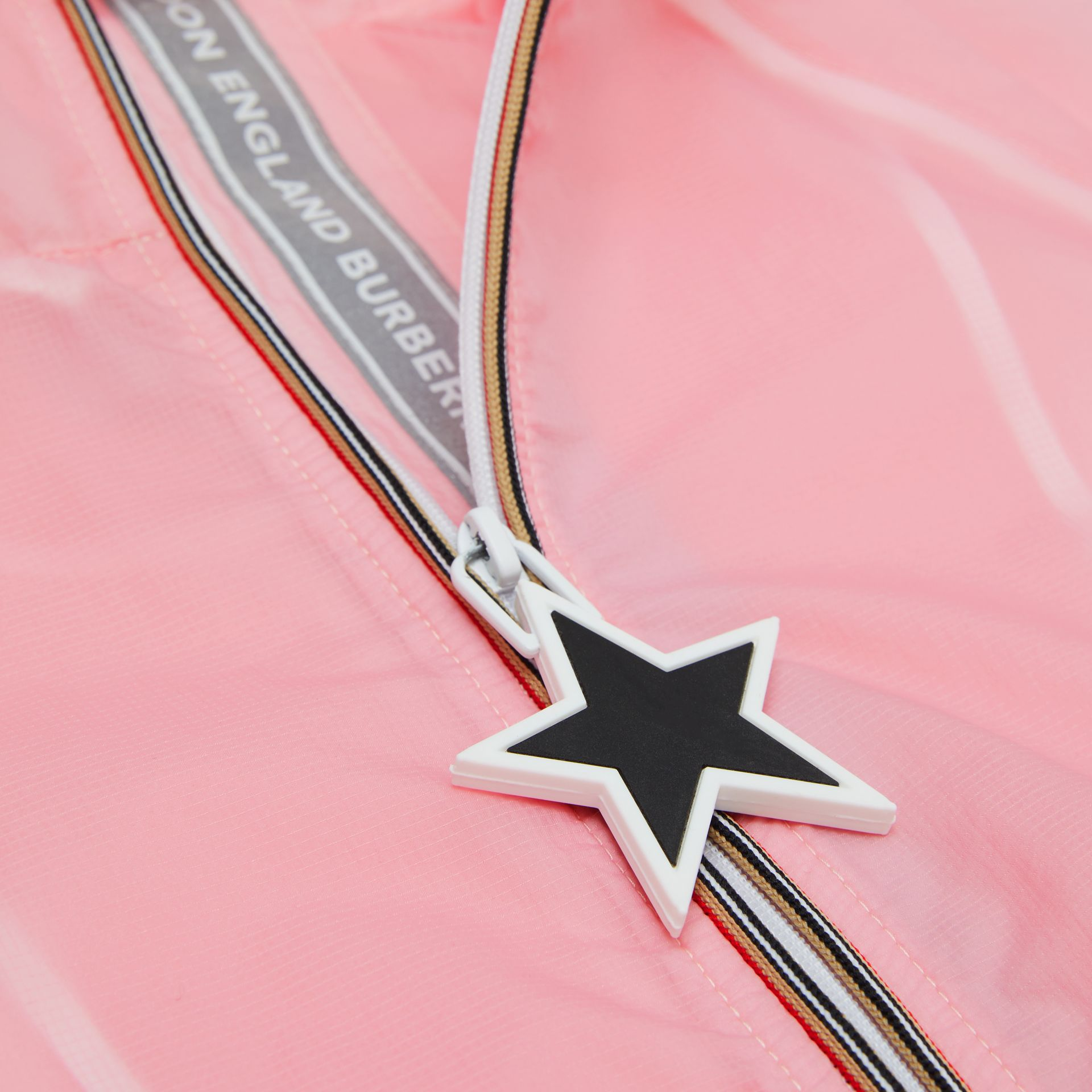 Star Detail Logo Print Lightweight Hooded Jacket in Candy Pink | Burberry - gallery image 1
