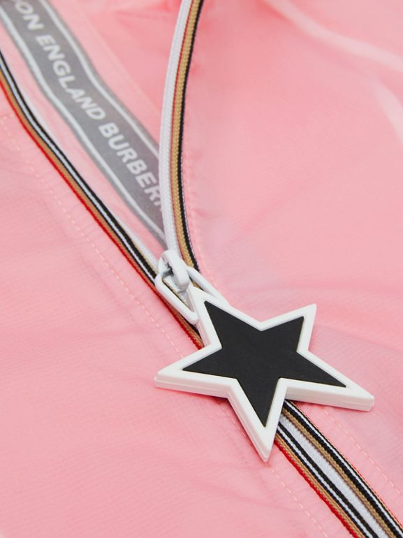 Star Detail Logo Print Lightweight Hooded Jacket in Candy Pink | Burberry - cell image 1
