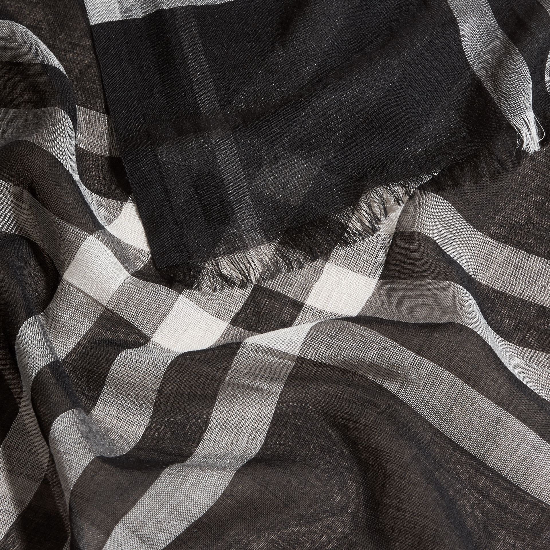 Lightweight Check Wool and Silk Scarf in Black - gallery image 2