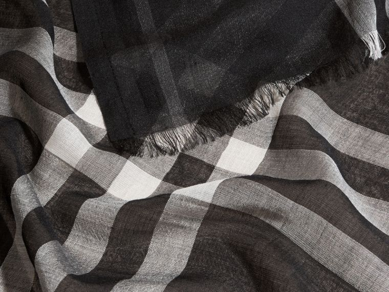 Lightweight Check Wool and Silk Scarf in Black - cell image 1