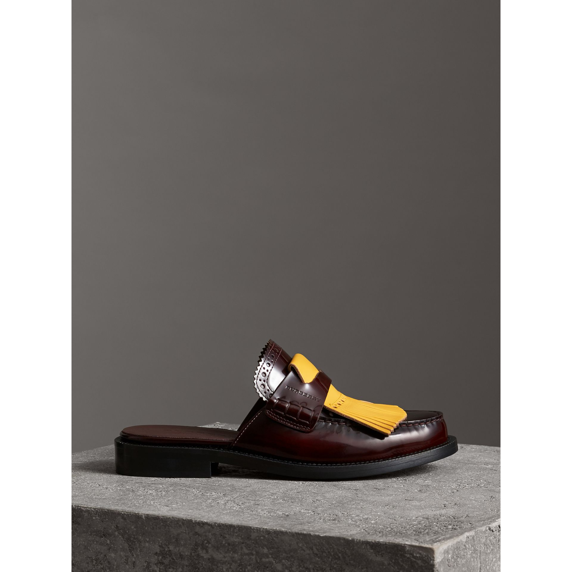 Contrast Kiltie Fringe Leather Mules in Burgundy - Women | Burberry - gallery image 4
