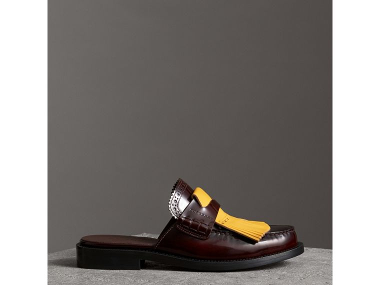 Contrast Kiltie Fringe Leather Mules in Burgundy - Women | Burberry Singapore - cell image 4