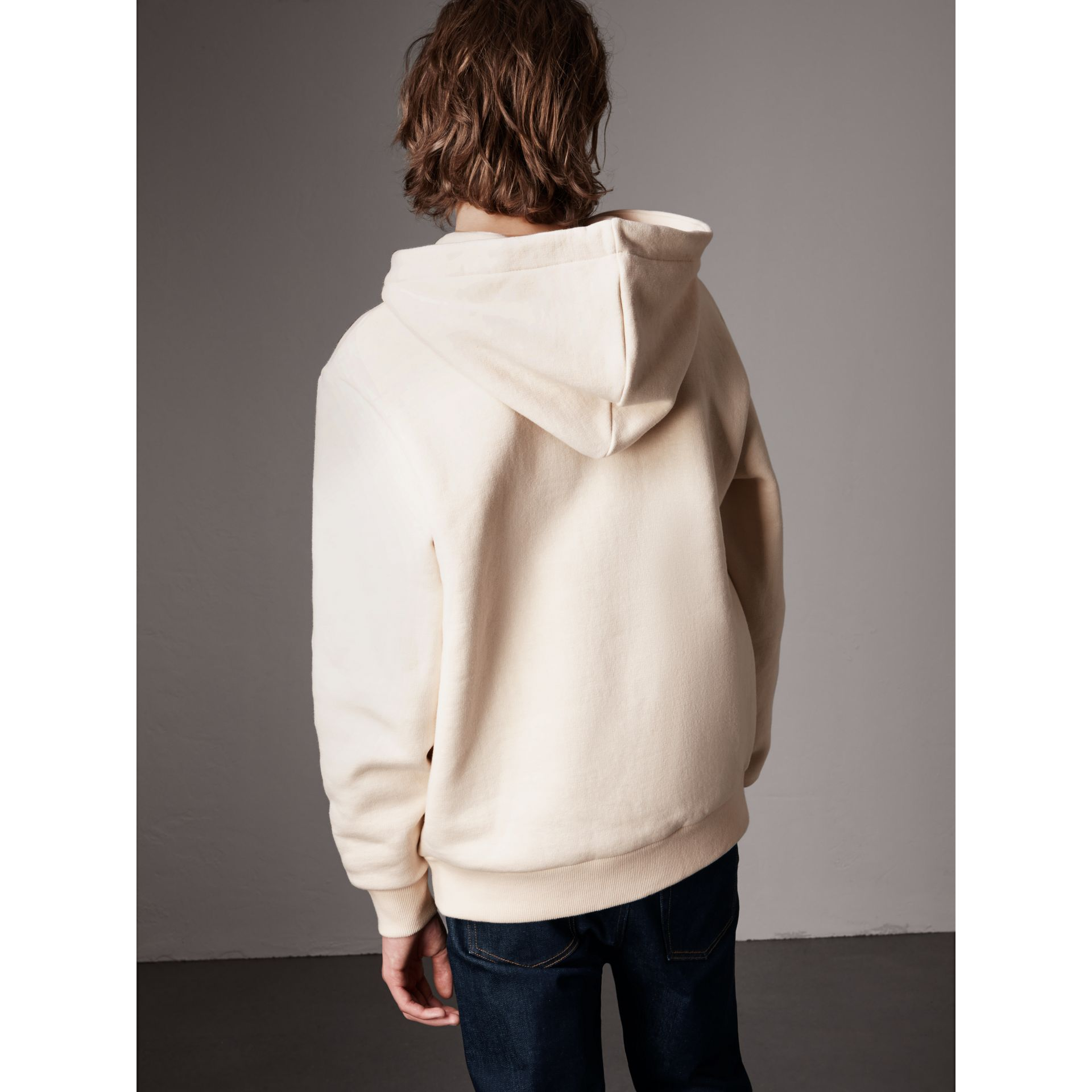 Equestrian Knight Device Cotton Hooded Sweatshirt in Natural White - Men | Burberry United Kingdom - gallery image 3