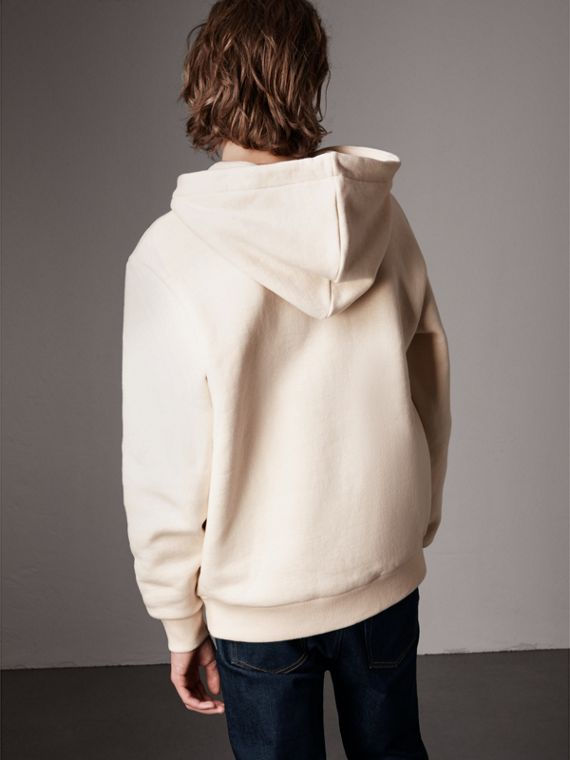 Equestrian Knight Device Cotton Hooded Sweatshirt in Natural White - Men | Burberry United States - cell image 2