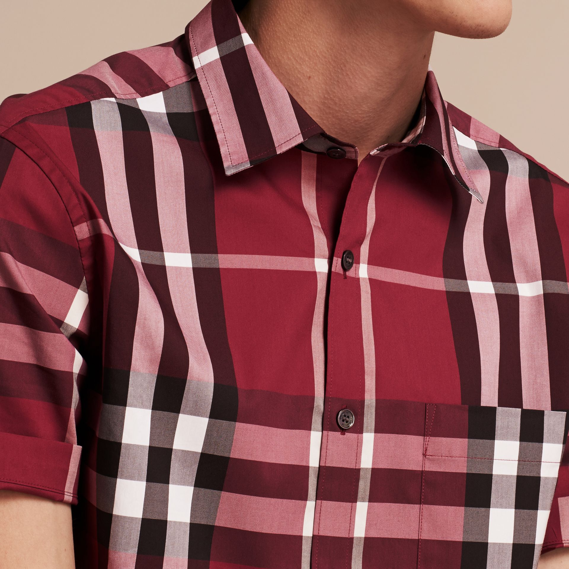 Short-sleeved Check Stretch Cotton Shirt in Plum Pink - Men | Burberry - gallery image 5