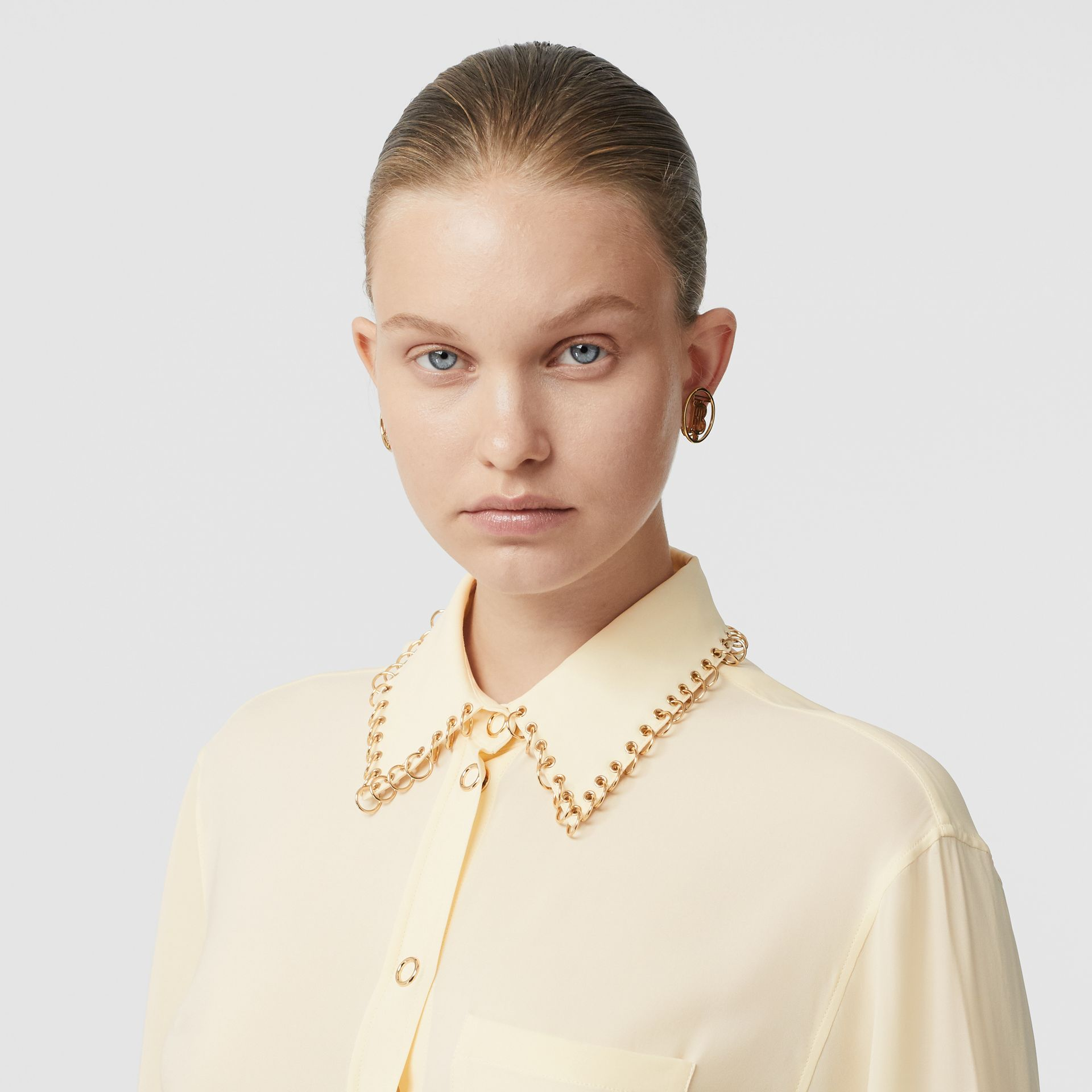 Ring-pierced Silk Oversized Shirt in Vanilla - Women | Burberry - gallery image 1