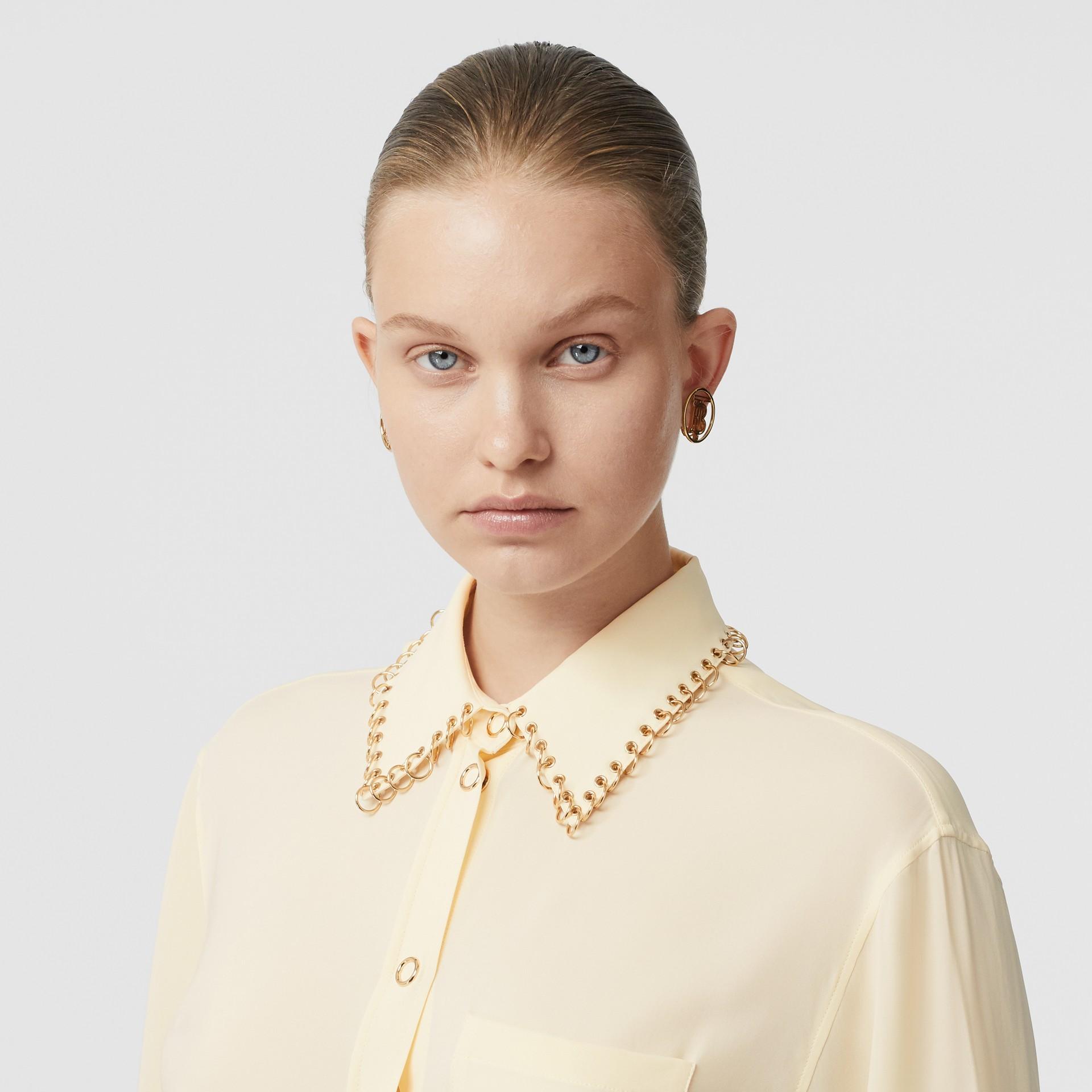 Ring-pierced Silk Oversized Shirt in Vanilla - Women | Burberry Singapore - gallery image 1