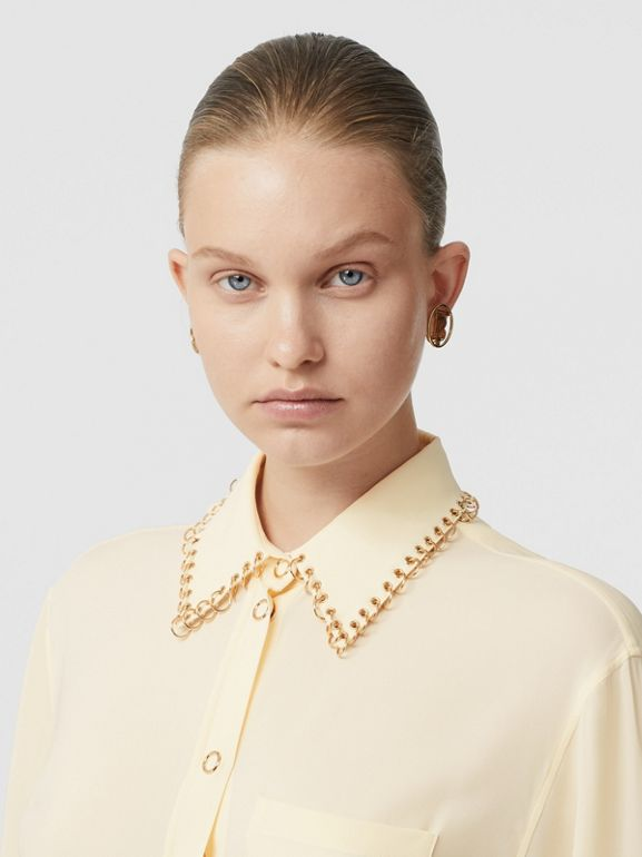 Ring-pierced Silk Oversized Shirt in Vanilla - Women | Burberry - cell image 1
