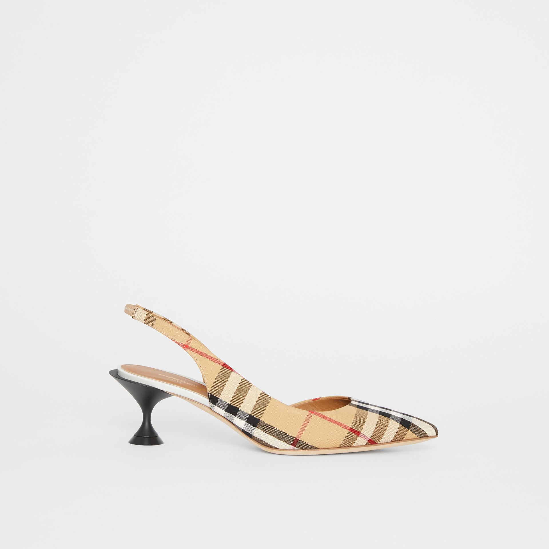 Vintage Check Slingback Pumps in Archive Beige - Women | Burberry - gallery image 4