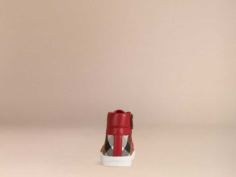 House Check and Leather High Top Trainers in Parade Red | Burberry - cell image 1
