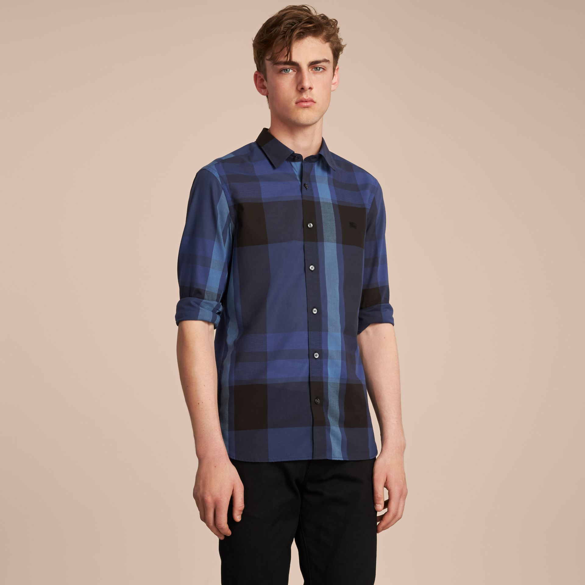 Check Cotton Linen Shirt in Bright Navy - Men | Burberry Canada - gallery image 6