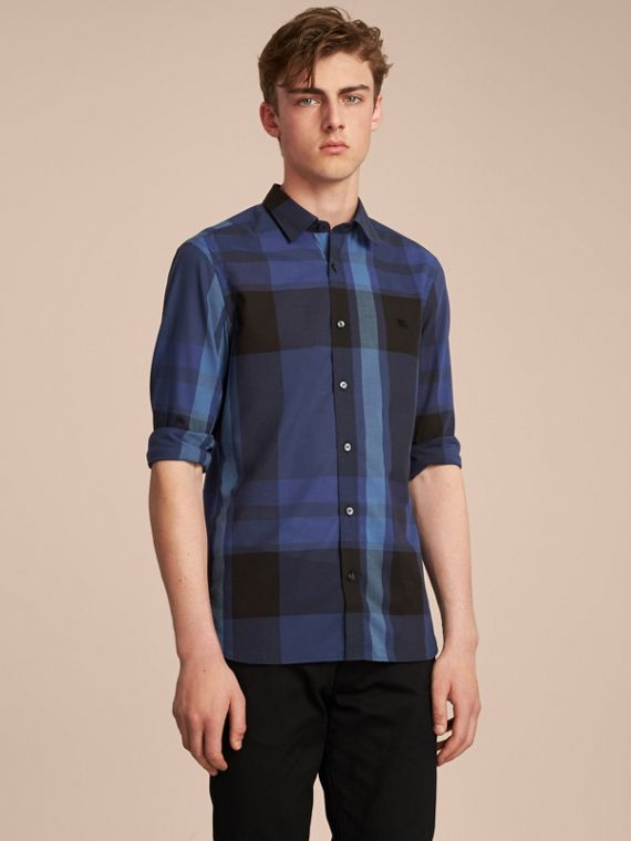 Check Cotton Linen Shirt in Bright Navy - Men | Burberry Singapore