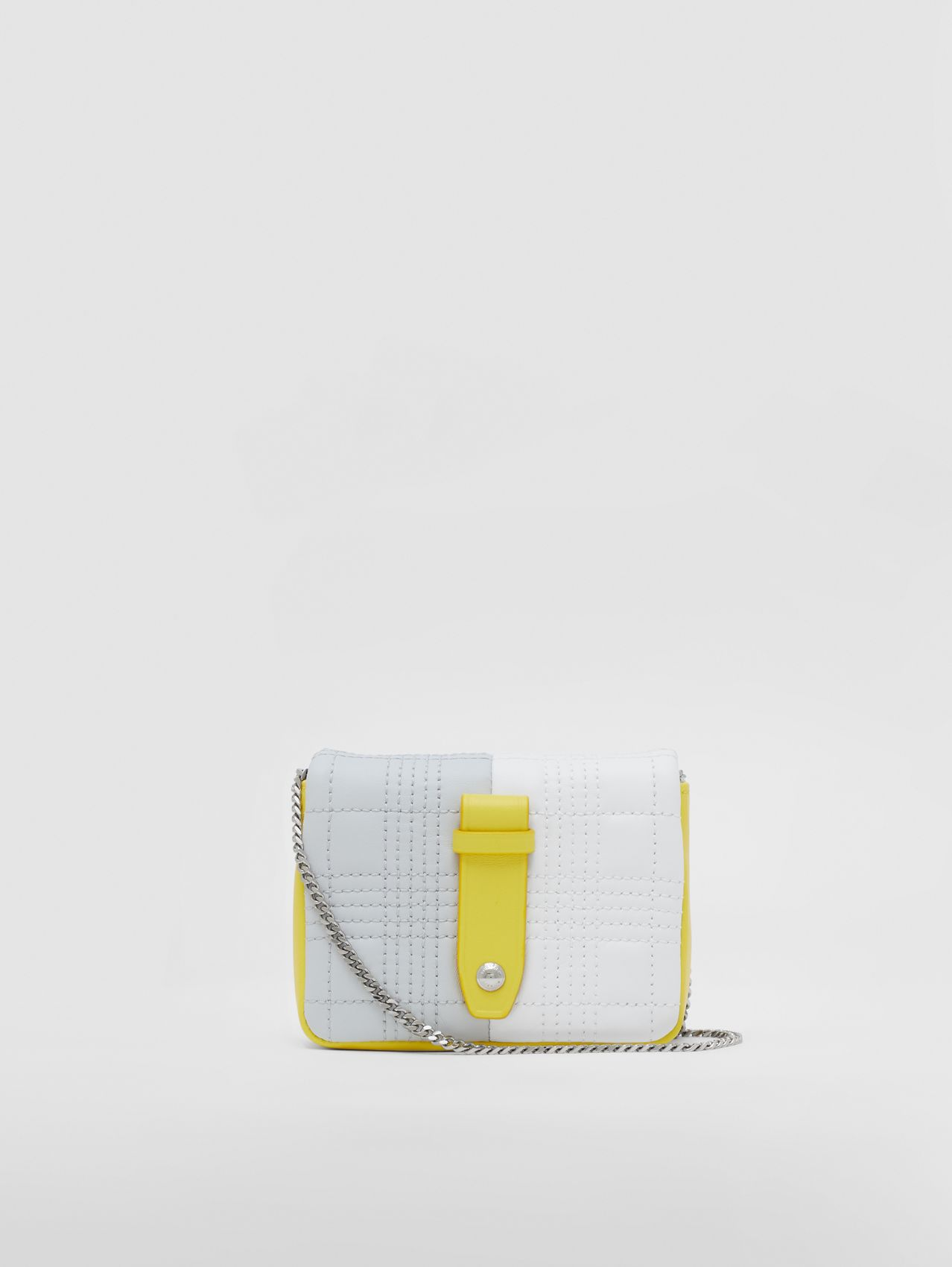 Micro Quilted Colour Block Lambskin Lola Bag in Grey/white/yellow