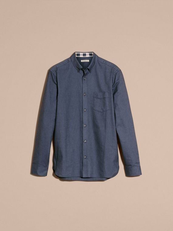 Check Detail Cotton Oxford Shirt in Dark Charcoal - cell image 3