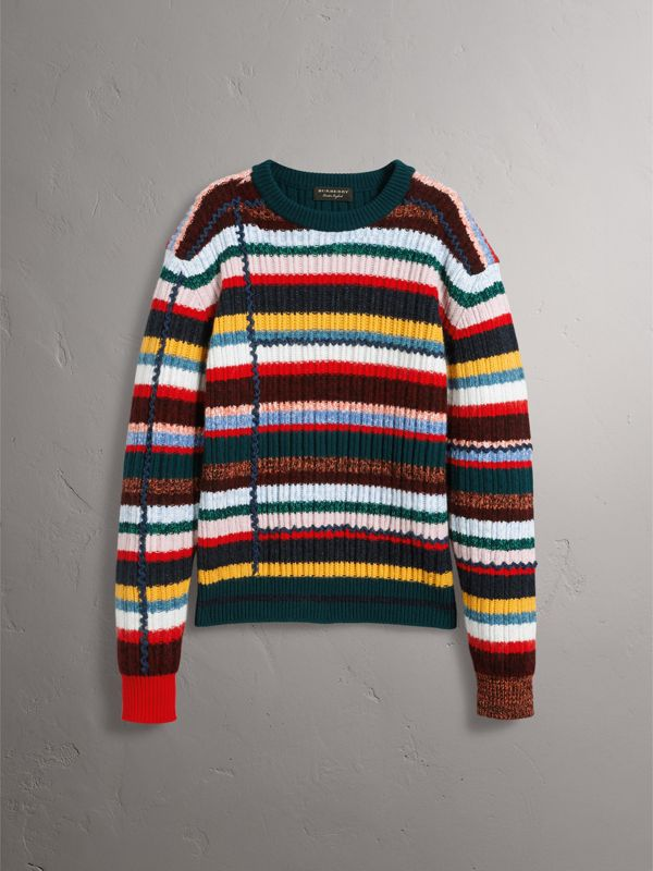 Striped Wool Cashmere Cotton Sweater in Dark Racing Green - Men   Burberry - cell image 3