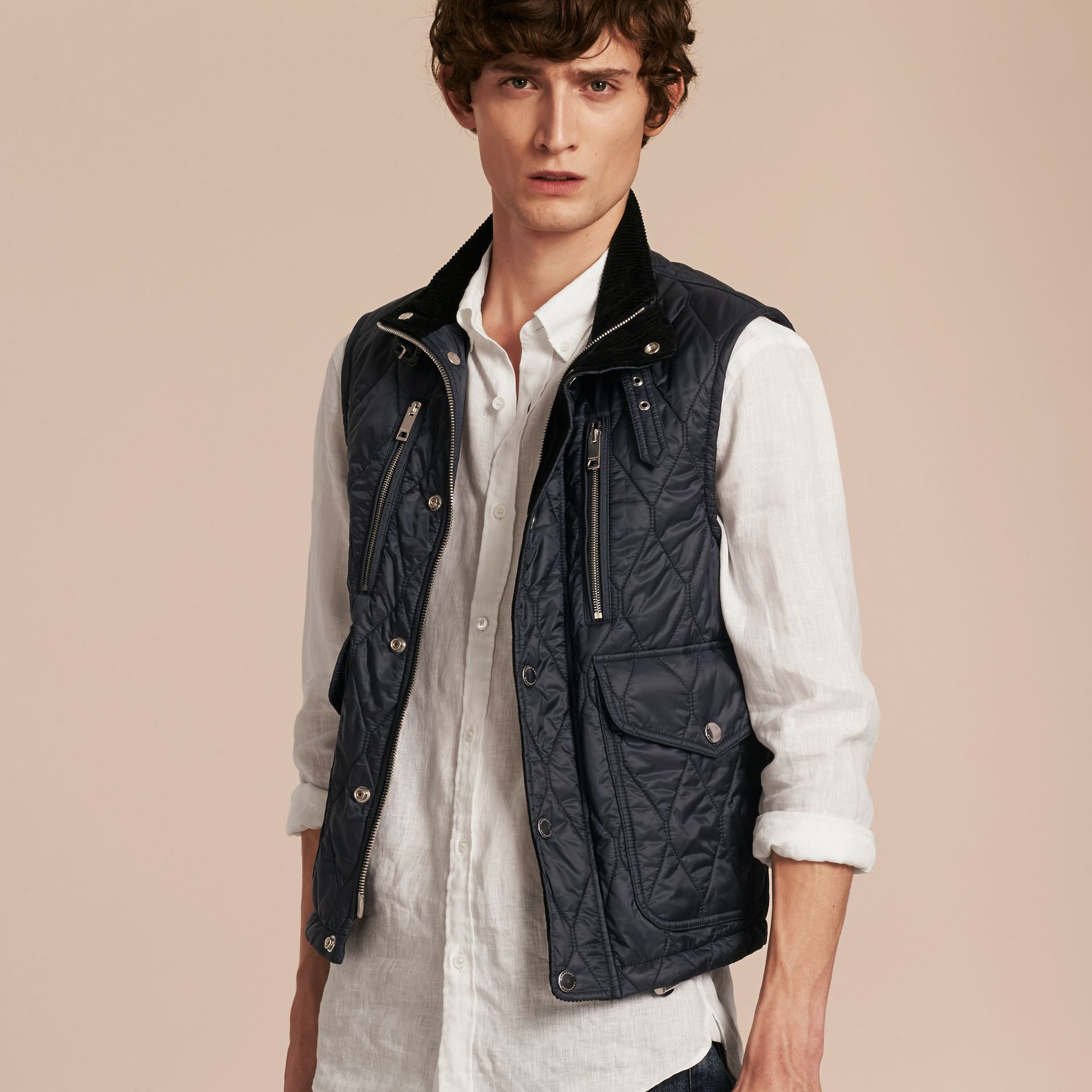 Navy Multi-Pocket Diamond Quilted Gilet Navy - gallery image 6