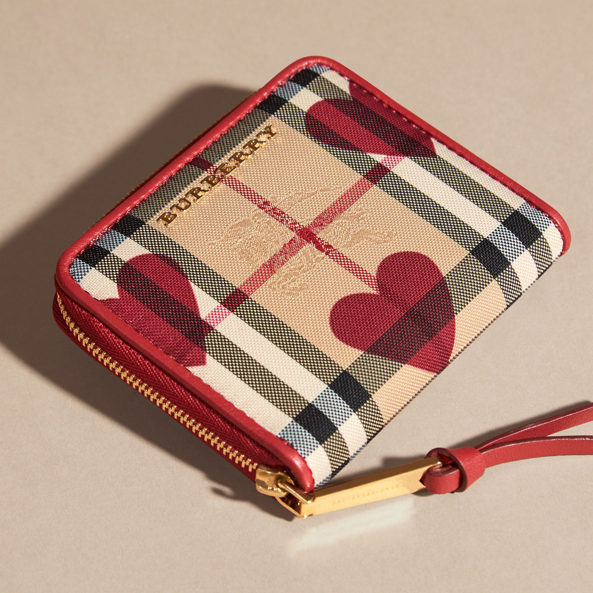 Parade red Heart Print Horseferry Check Small Ziparound Wallet - gallery image 3