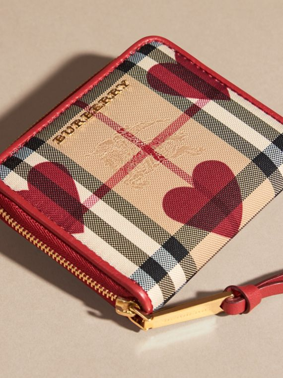 Parade red Heart Print Horseferry Check Small Ziparound Wallet - cell image 2
