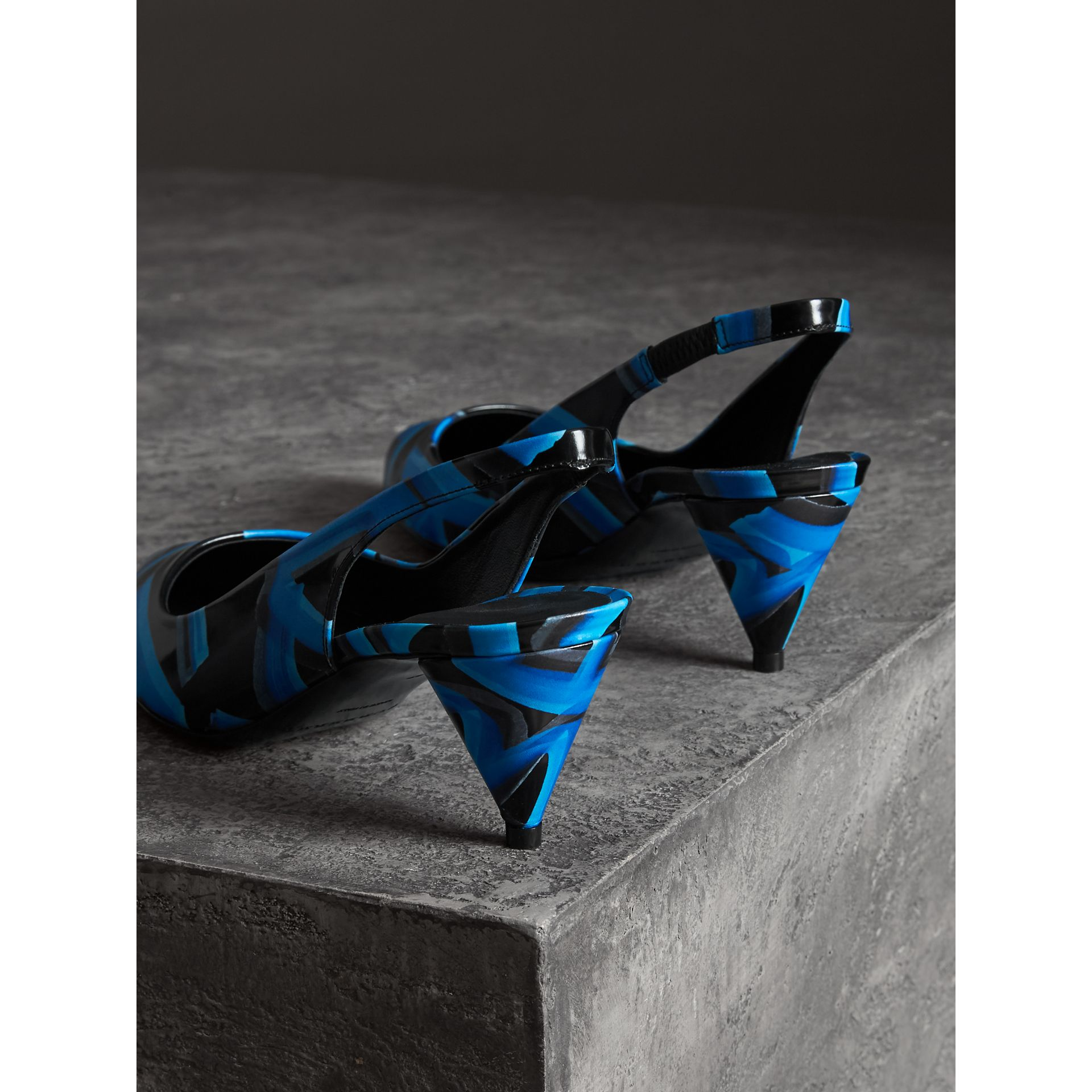 Graffiti Print Leather Slingback Pumps in Black - Women | Burberry - gallery image 2