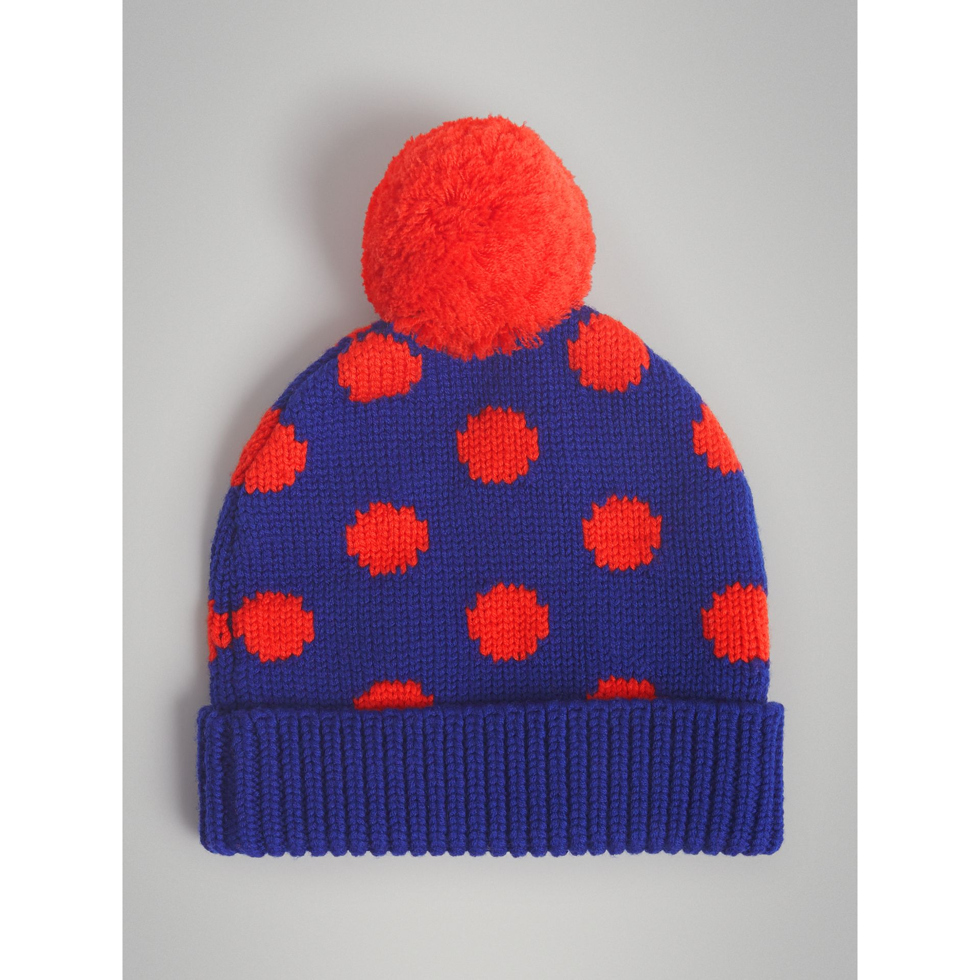 Polka Dot Wool Turnback Beanie in Dark Blue | Burberry Australia - gallery image 2