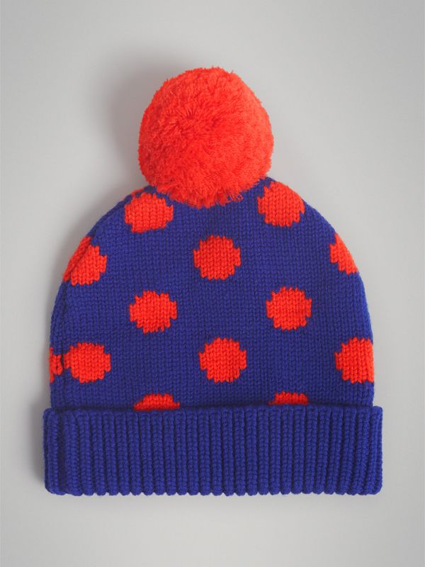 Polka Dot Wool Turnback Beanie in Dark Blue | Burberry Australia - cell image 2