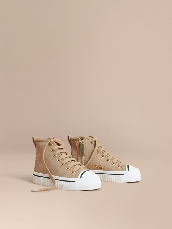 Topstitched Cotton Gabardine High-top Trainers in Honey