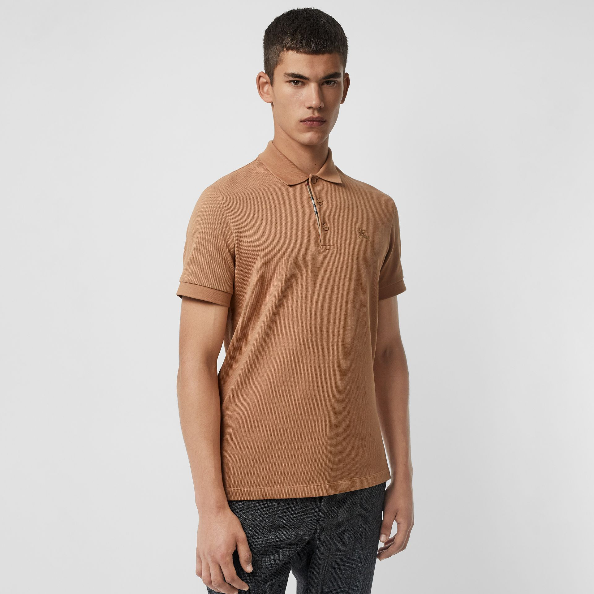 Check Placket Cotton Polo Shirt in Camel - Men | Burberry Canada - gallery image 0