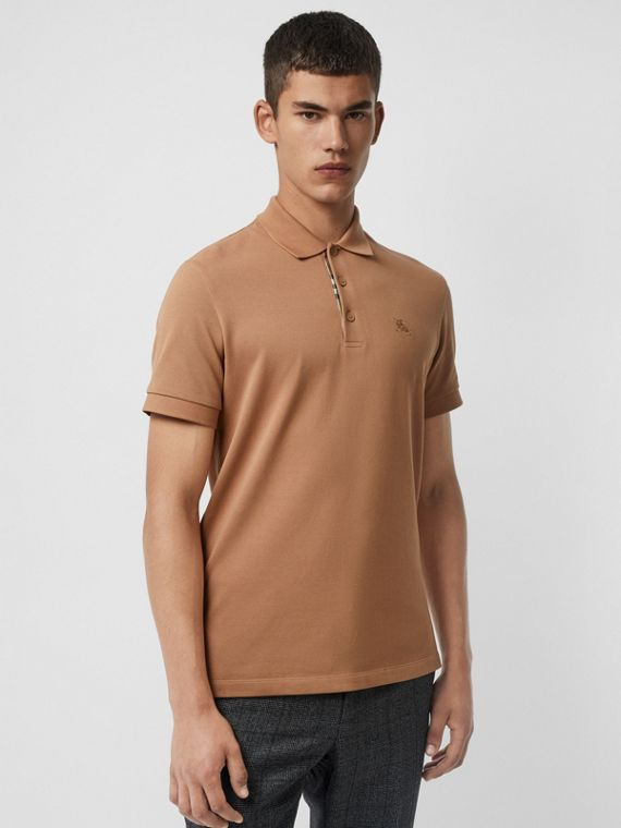 Check Placket Cotton Polo Shirt in Camel