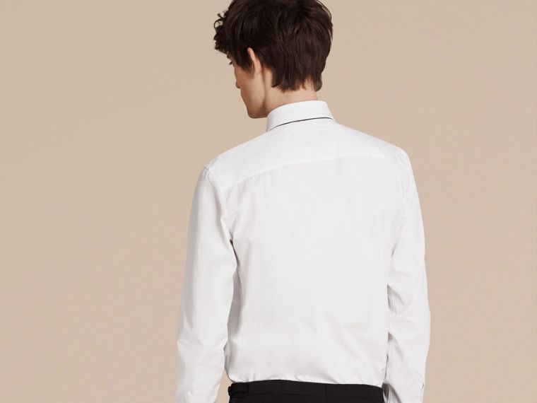 White Slim Fit Cotton Poplin Dress Shirt - cell image 1