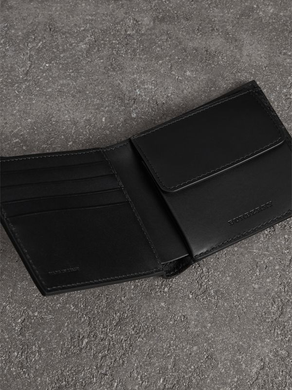Grainy Leather International Bifold Coin Wallet in Black - Men | Burberry Australia - cell image 3