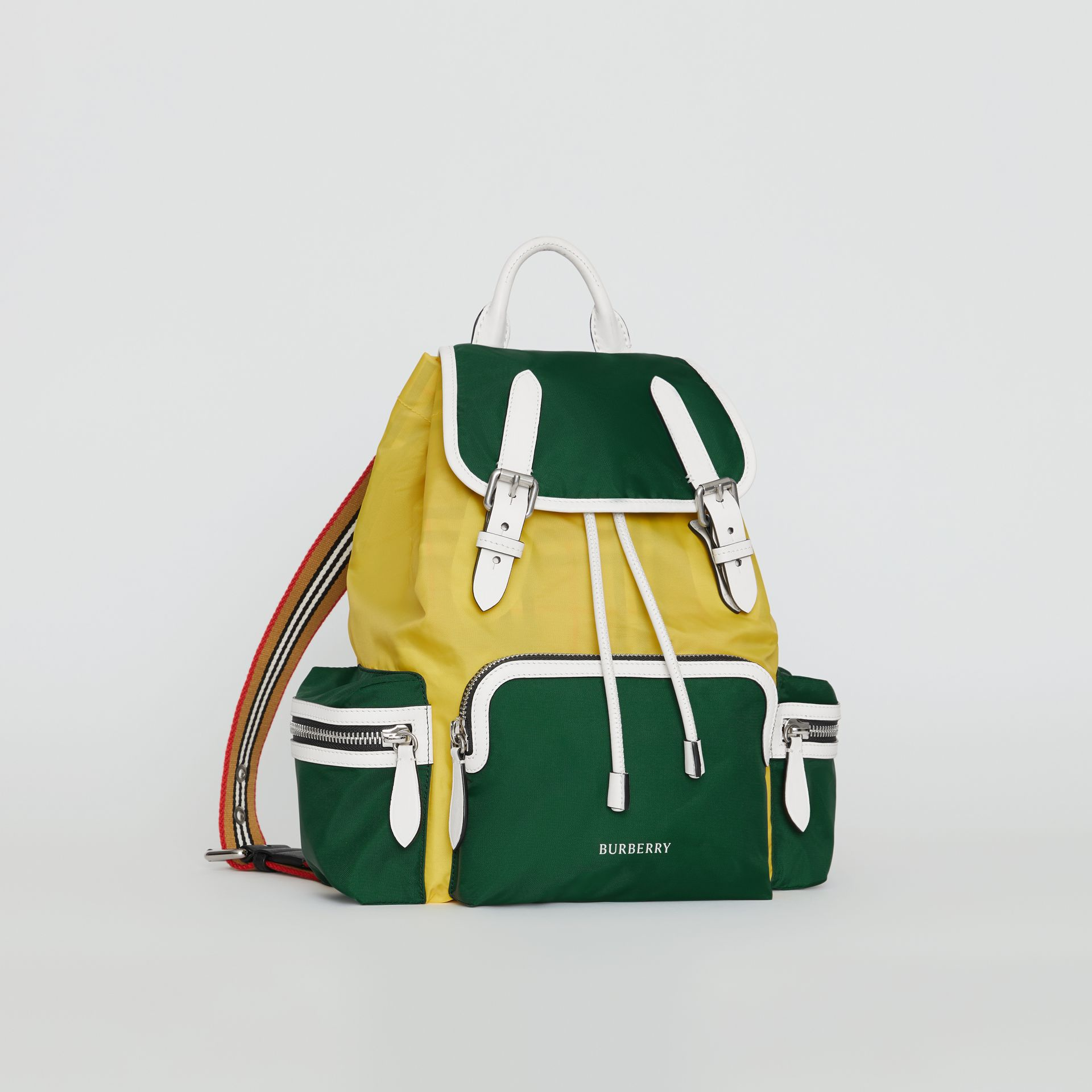 The Medium Rucksack in Colour Block Nylon and Leather in Pine Green - Women | Burberry Canada - gallery image 2