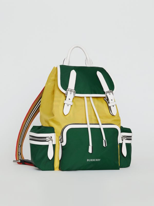 The Medium Rucksack in Colour Block Nylon and Leather in Pine Green - Women | Burberry United States - cell image 2