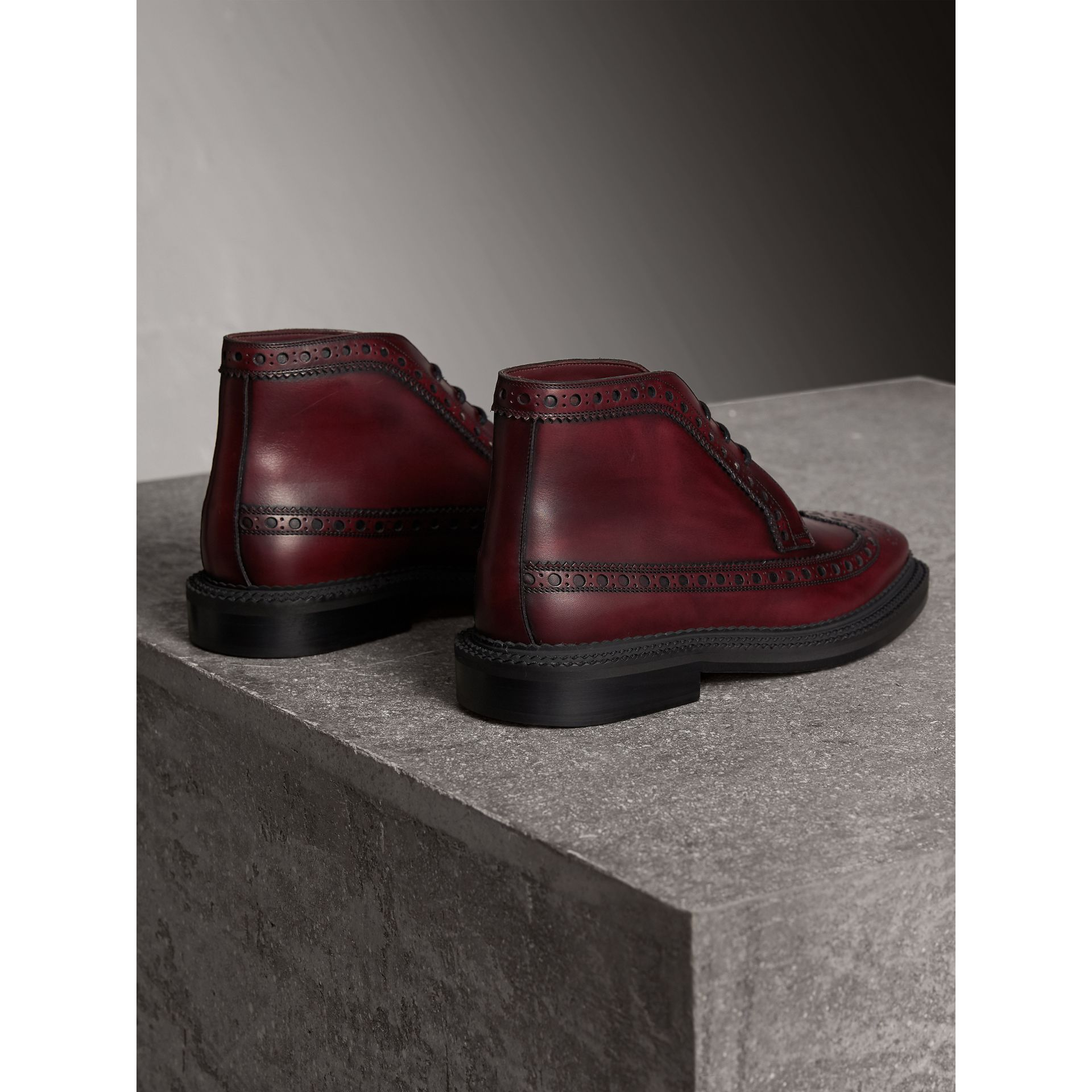 Leather Brogue Boots in Bordeaux - Men | Burberry - gallery image 3