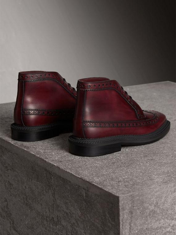 Leather Brogue Boots in Bordeaux - Men | Burberry - cell image 2
