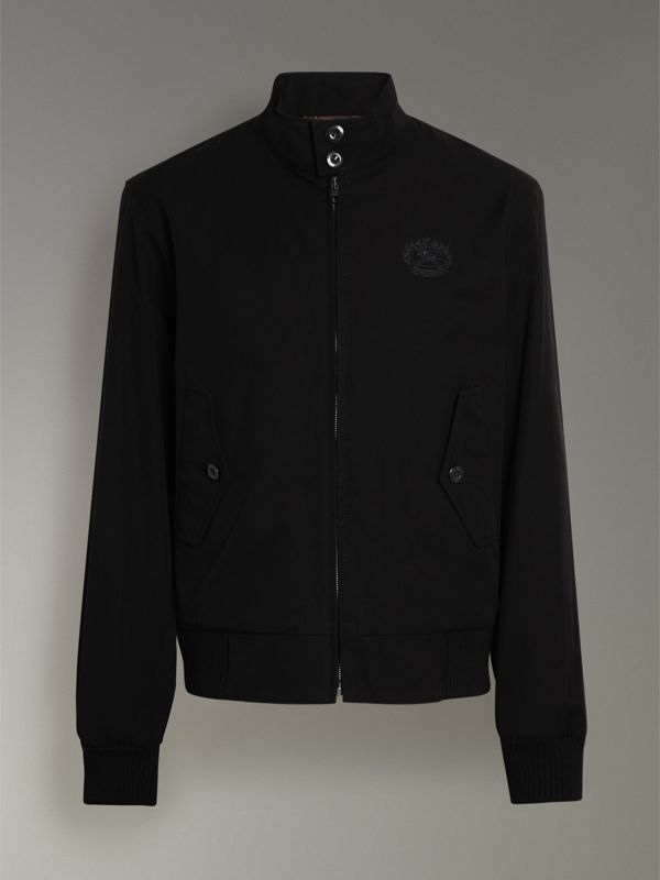 Slim Fit Tropical Gabardine Harrington Jacket in Black - Men | Burberry United Kingdom - cell image 3