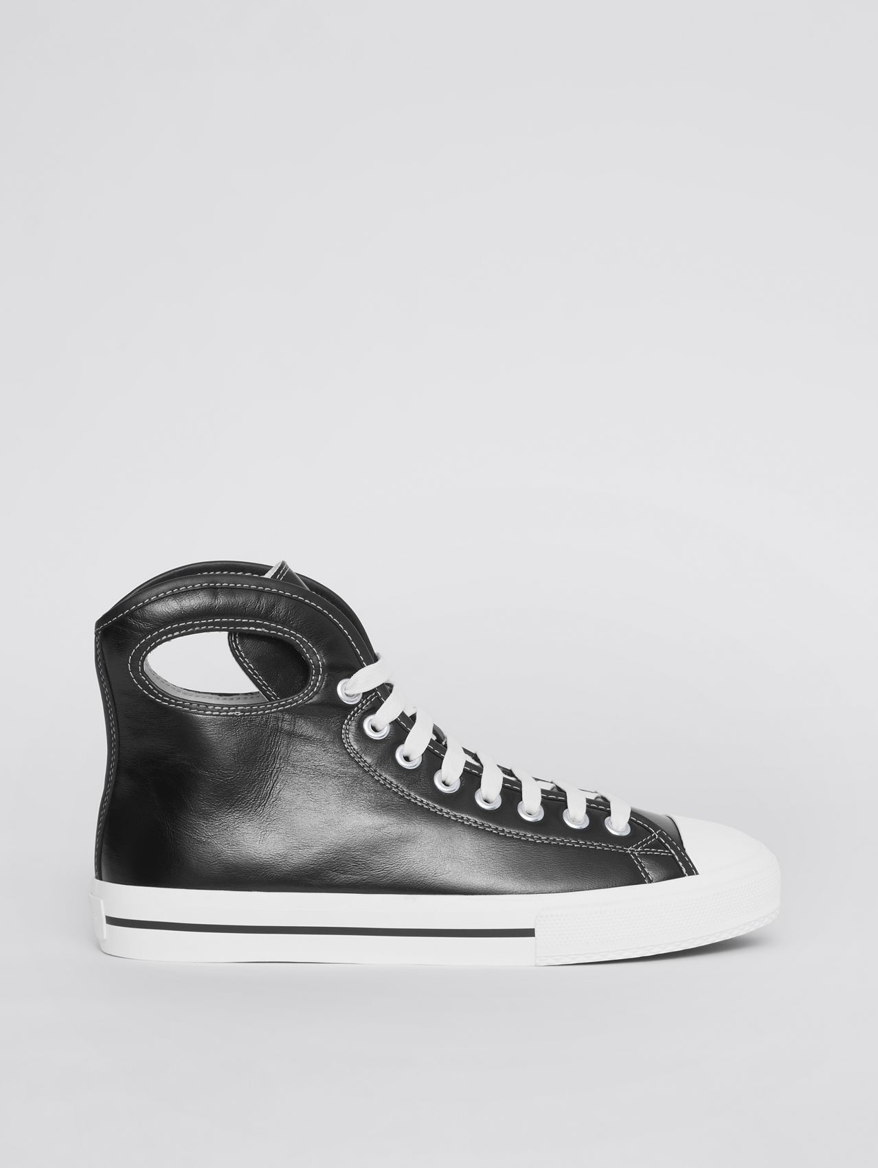 Porthole Detail Leather High-top Sneakers in Black