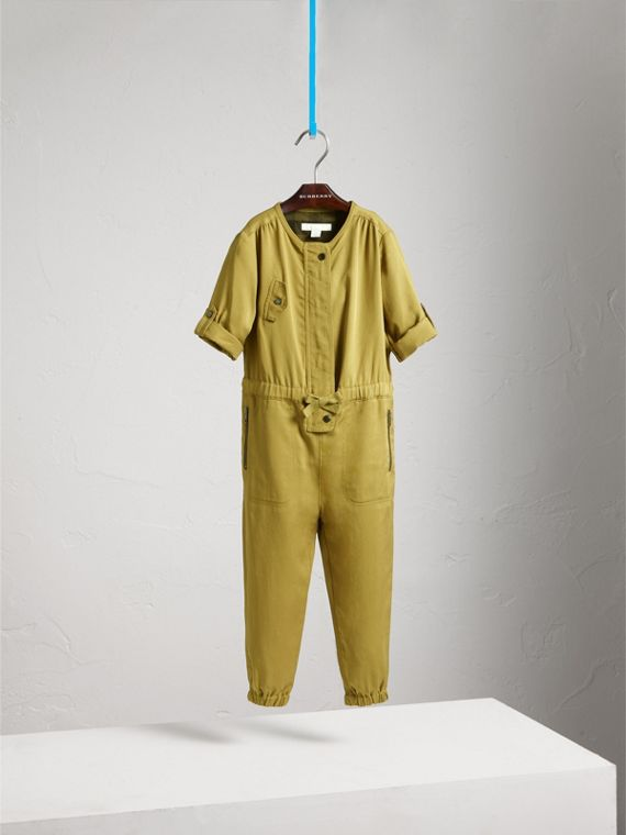 Drawcord Waist Lyocell Jumpsuit in Olive - Girl | Burberry - cell image 2