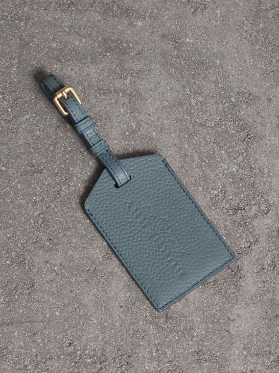Grainy Leather Luggage Tag in Dusty Teal Blue
