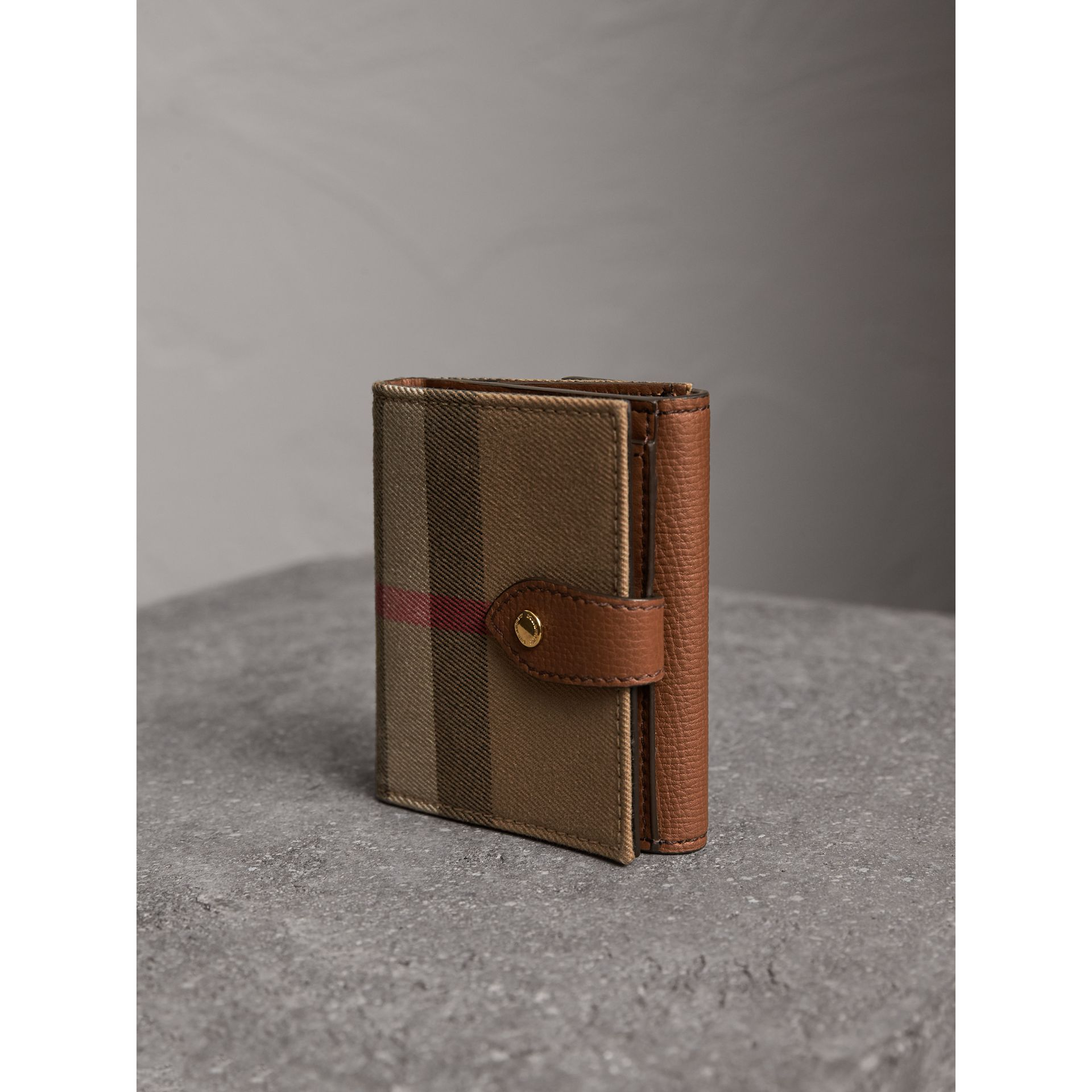 House Check and Leather Wallet in Tan - Women | Burberry - gallery image 2